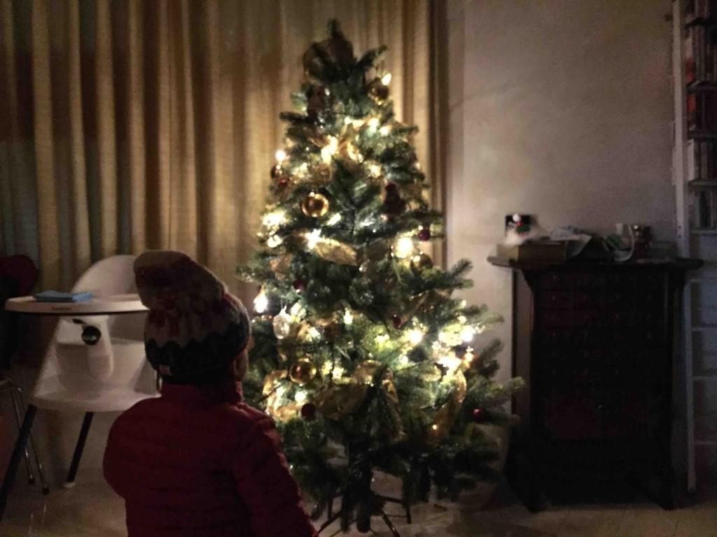 部屋を暗くすると、一気にクリスマスモード