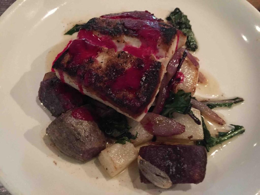 mahi mahi, 'uala, dandelion greens, red onion, daikon, beet vinaigrette $15