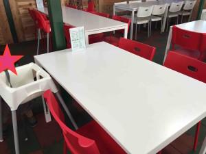 子ども用の椅子も相当数あって、最初からテーブルに置いてある。