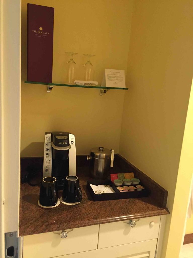 コーヒーや氷、ミネラルウォーターも毎日無料で補充
