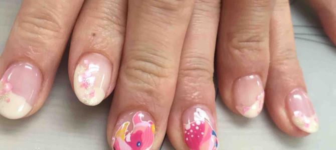 桜×ピンクのサイのコラボ☆ 今年いちばんのお気に入りネイルでご機嫌も上々です