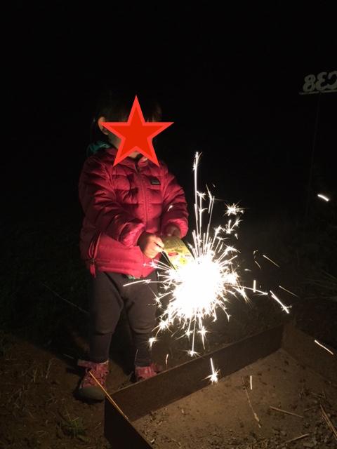 人生初の花火を体験!各サイトに置かれた焚き火台の上ならOK